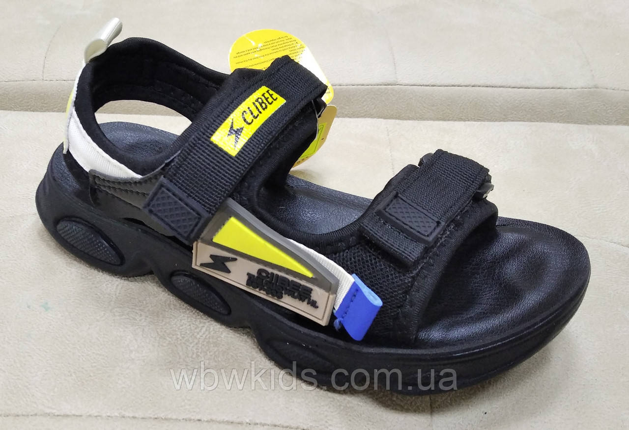 Босоножки детские Clibee Z-851 на мальчика черно-желтые