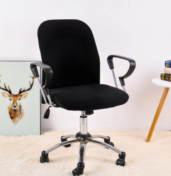 Универсальные чехлы накидки на офисные стулья кресло раздельные трикотаж Homytex Черный