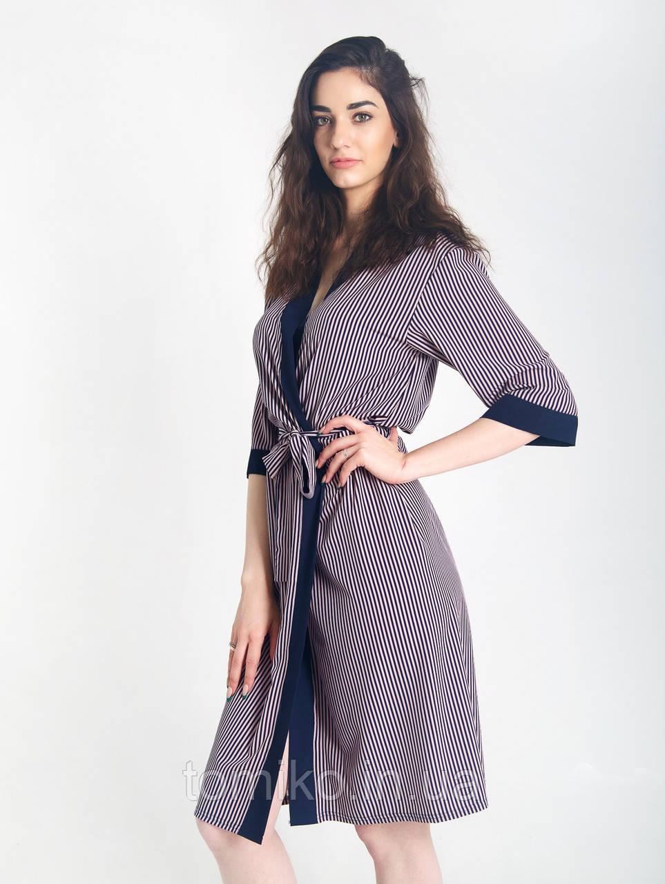 Халат шёлковый кимоно полоска. Размеры 42-50.