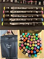 """Набір двосторонніх скетч-маркерів для малювання 24 кольорів у сумочці """"Touch"""""""