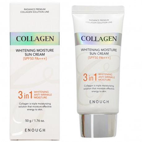 Солнцезащитный крем для лица с морским коллагеном Enough Collagen 3in1 Whitening Moisture Sun Cream SPF50 PA++