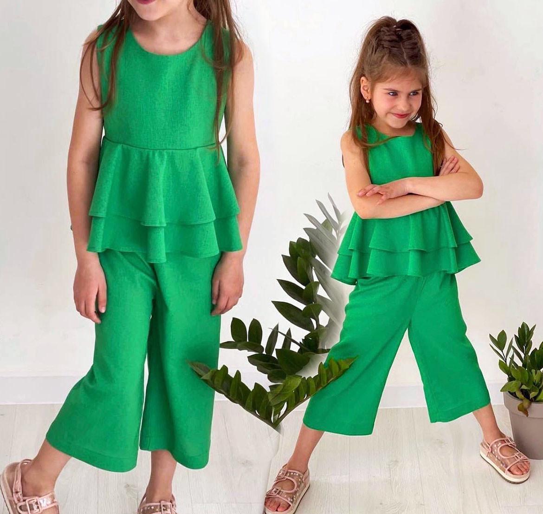 """Дитячий підлітковий літній костюм для дівчинки 134 """"Льон Баска Кюлоти"""" в кольорах"""