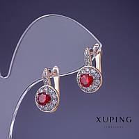 Серьги Xuping камень цвет красный Рубин 17х8мм позолота 18К