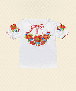Вышиванка для девочки короткий рукав стрейч-кулир
