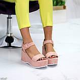 Ефектні замшеві рожеві пудра жіночі босоніжки на платформі 40-25,5 см, фото 4