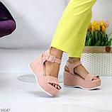 Ефектні замшеві рожеві пудра жіночі босоніжки на платформі 40-25,5 см, фото 5