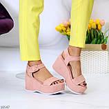 Ефектні замшеві рожеві пудра жіночі босоніжки на платформі 40-25,5 см, фото 6