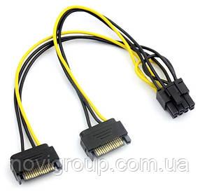 Кабель-перехідник для живлення відеокарти SATA + SATA -> 8P, OEM Q50