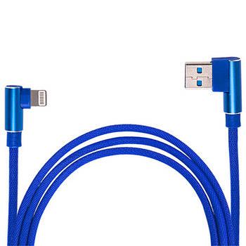 Кабель зарядки USB - Apple Lightning (Blue)  90° ((100) Bl 90°)