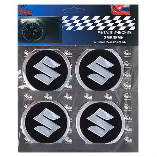 """Наклейки на автомобильные колпаки диаметр 60 мм """"SUZUKI"""" черные (4 шт)"""
