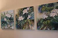 Картина Батик  «Белые лотосы», триптих,