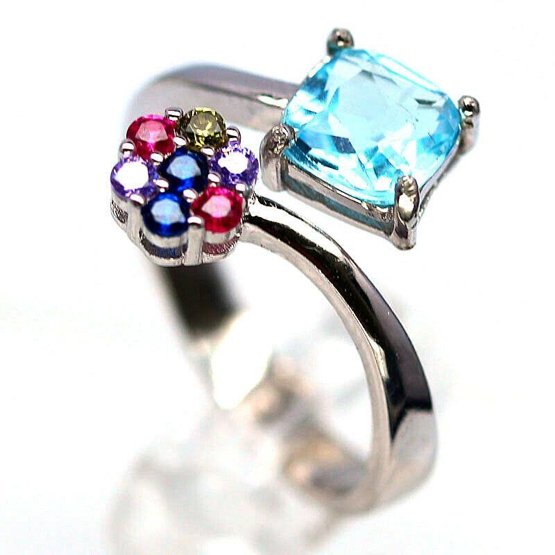 Серебряное кольцо с топазом и цирконом цветным, 1730КТ