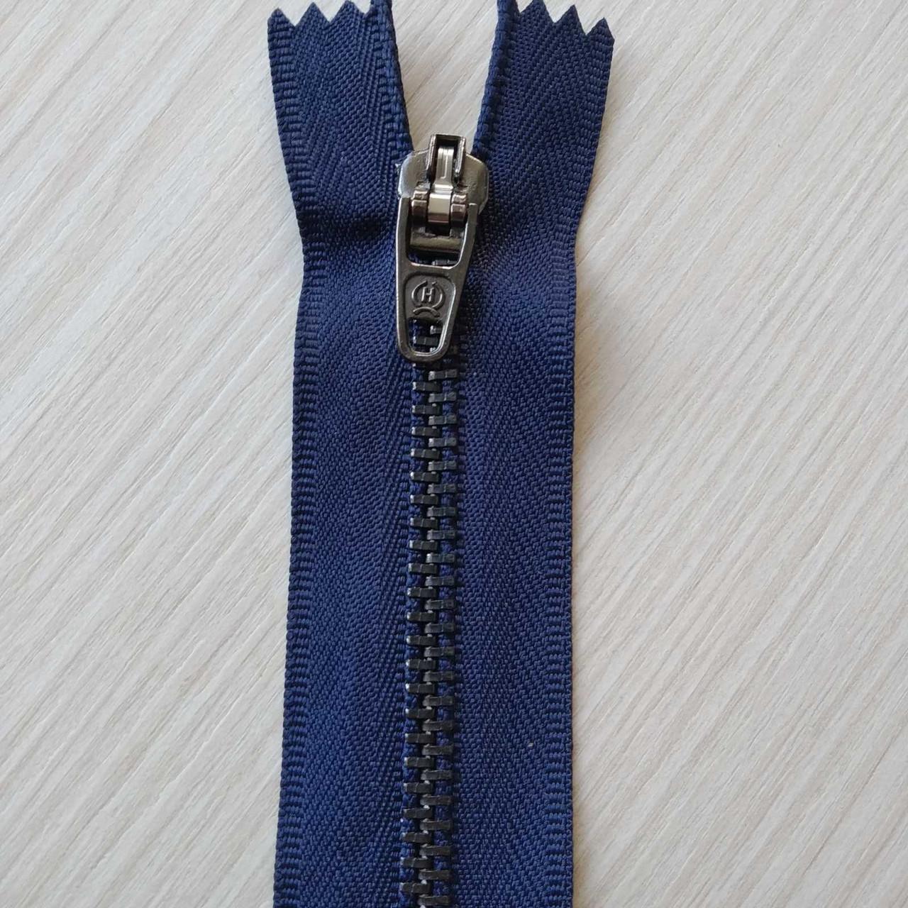 Застібка блискавка для штанів метал / 18см основа колір синій