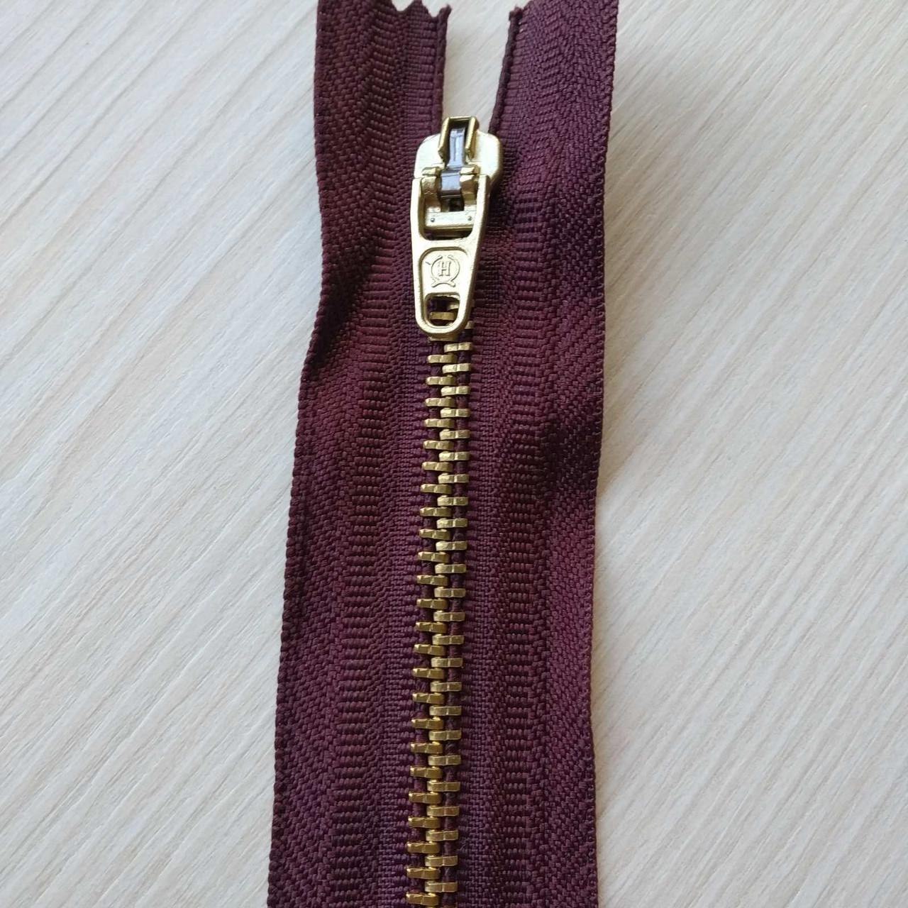 Застібка блискавка для штанів метал / 18см основа бордо