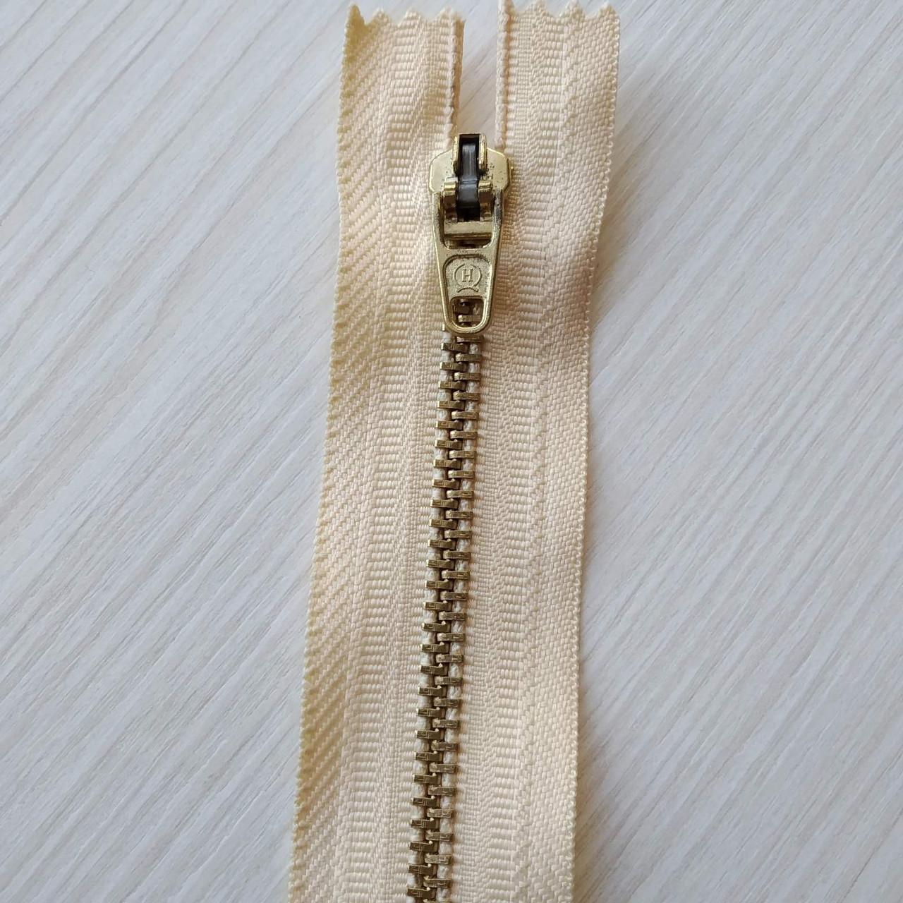 Застібка блискавка для штанів метал / 18см основа колір світлий беж