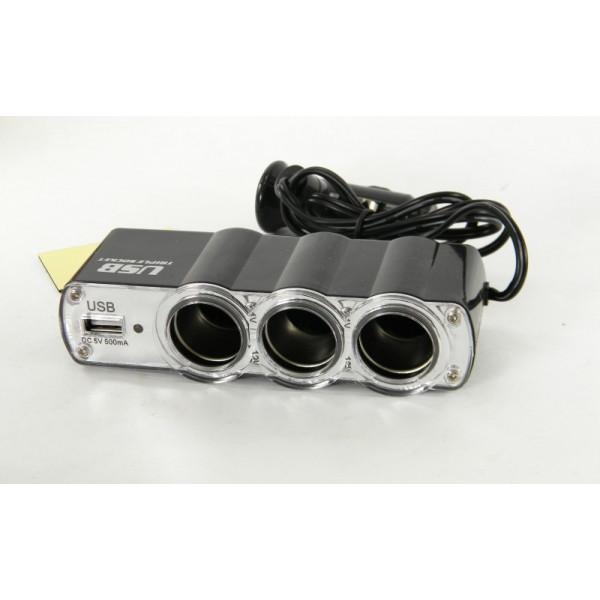 Автомобильный разветвитель 12v тройник + USB порт