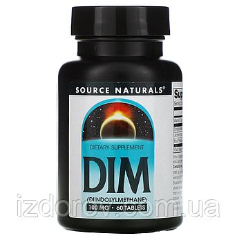 Source Naturals, DIM (дииндолилметан), 100 мг, 60 таблеток