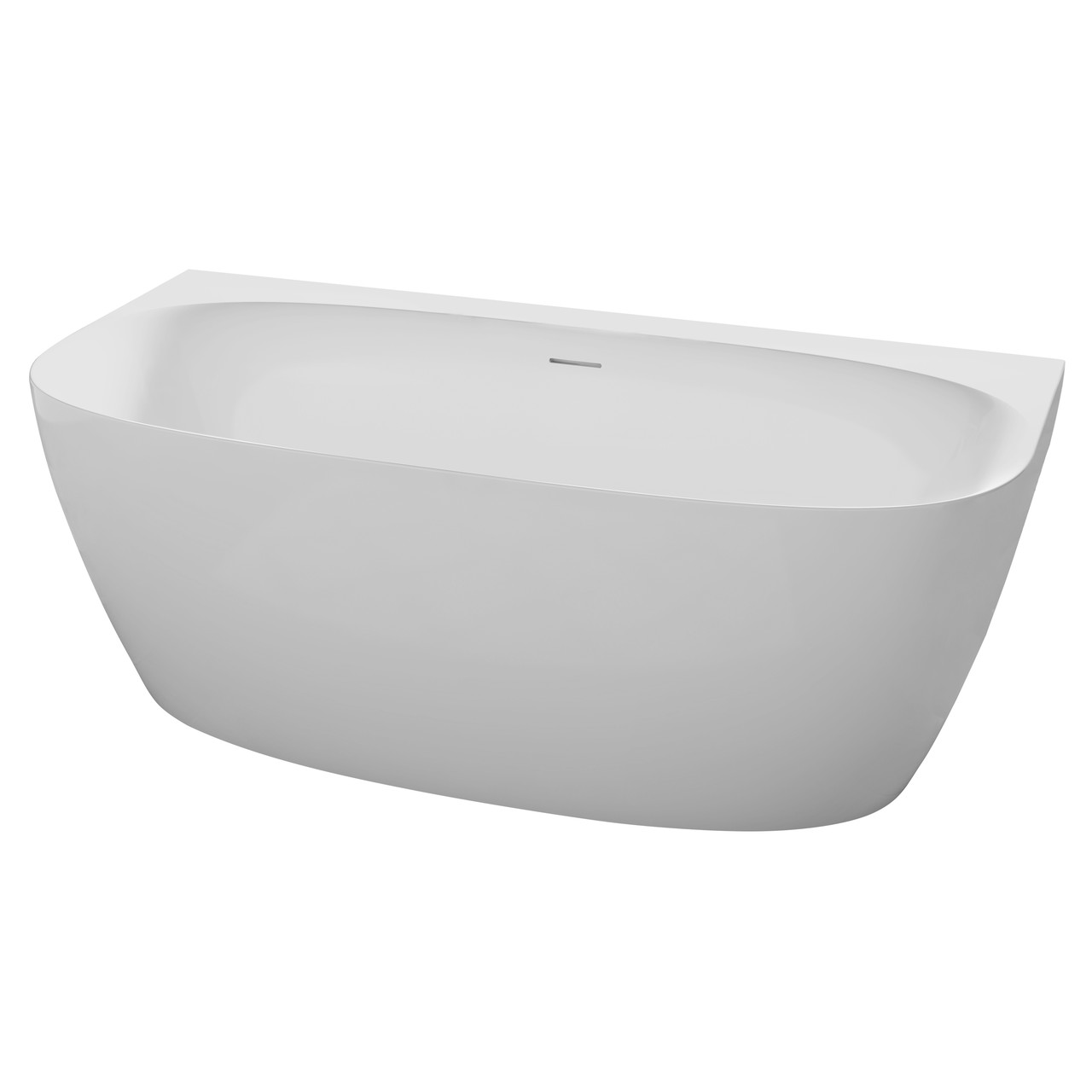 Ванна 170*80*58см, окремостояча, пристінна, з сифоном, матова