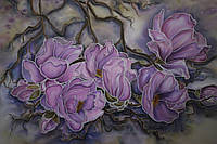 Картина батик «Розовая магнолия»,  размер 55х80
