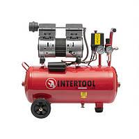Компрессор 24 л, 0.75 кВт, 220 В, 8 атм, 145 л/мин, малошумный, безмасляный, 2 цилиндра INTERTOOL PT-0022