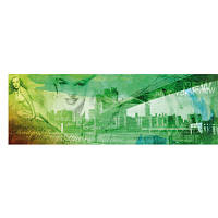 """Коллаж на холсте """"Мерилин в Нью Йорке"""" зеленый 40 х 120 см"""