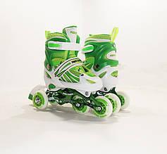 Детские ролики для начинающих размер 29-33 и 34-37 LikeStar зеленый цвет