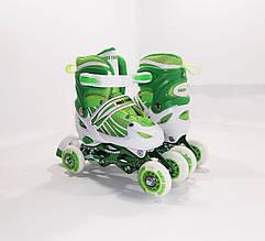 Детские ролики для начинающих квады размер 29-33 и 34-37 LikeStar (2в1) зеленый цвет