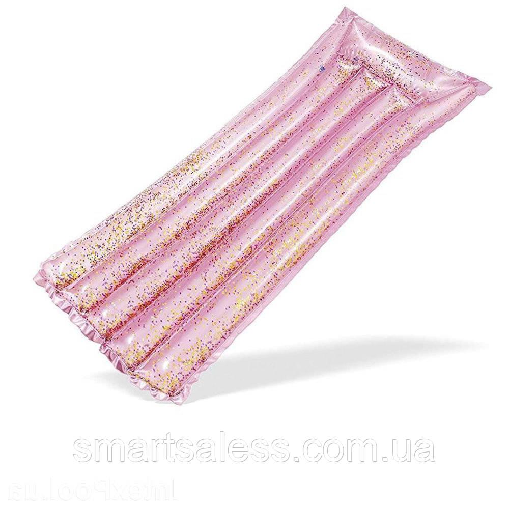 Пляжний надувний матрац з підголовником Intex 58720 «Рожевий Блиск», 183 х 69 см