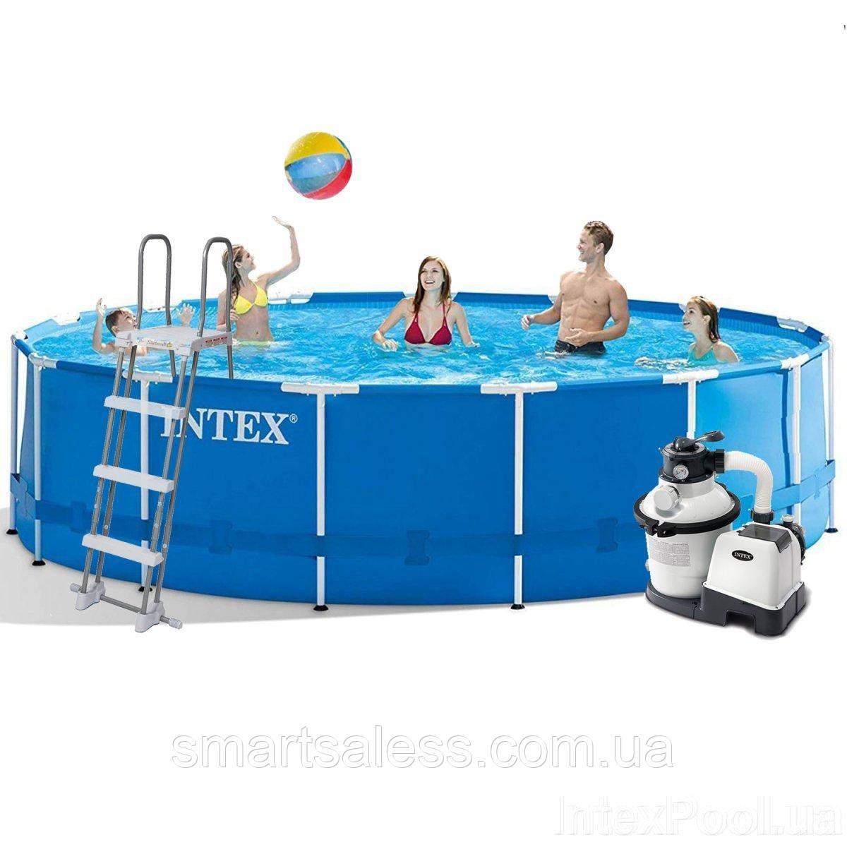 Каркасний басейн Intex, 457 x 122 см, насос 4 500 л/год, сходи, тент, підстилка