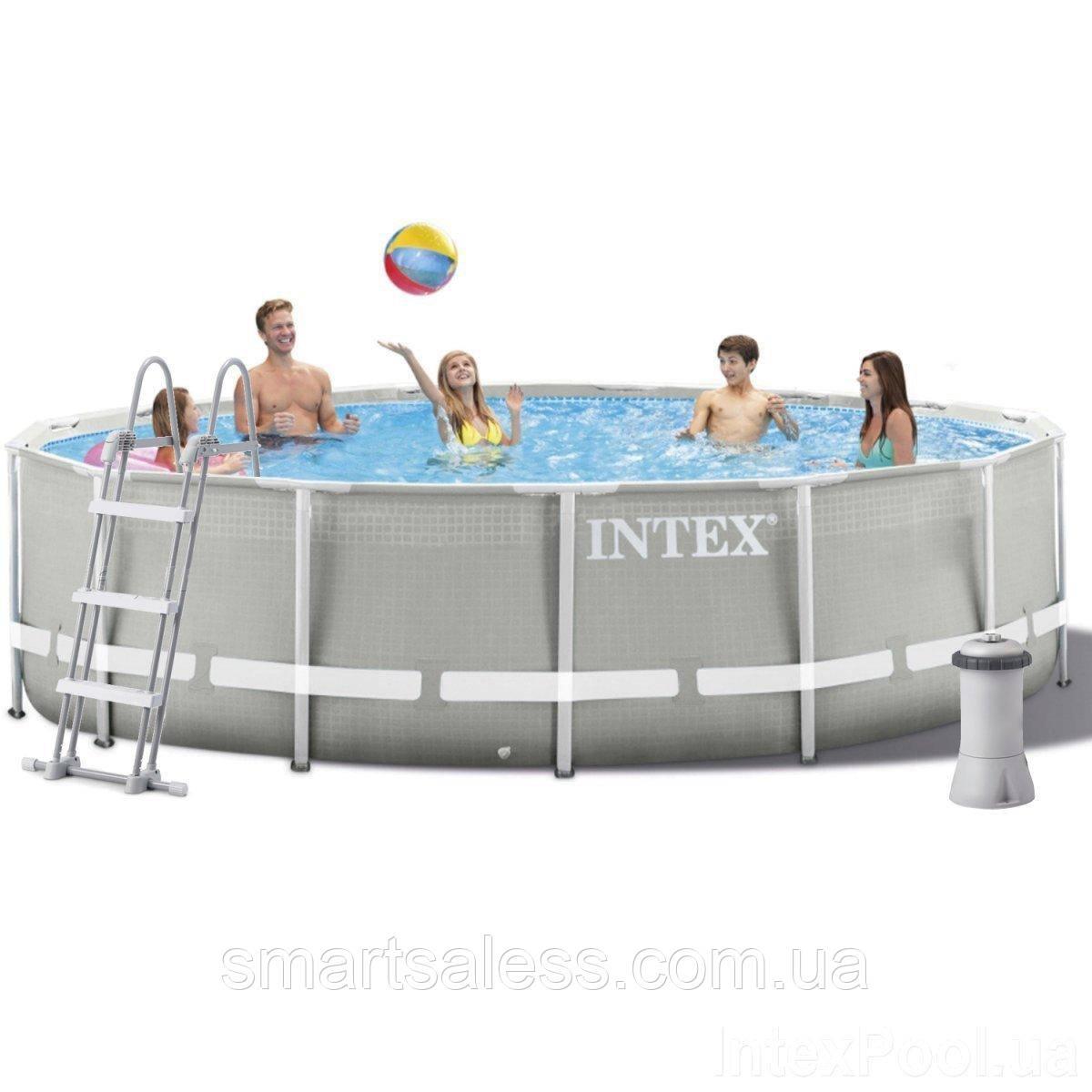 Каркасний басейн Intex, 427 х 107 см, насос 3 785 л/год, сходи, тент, підстилка