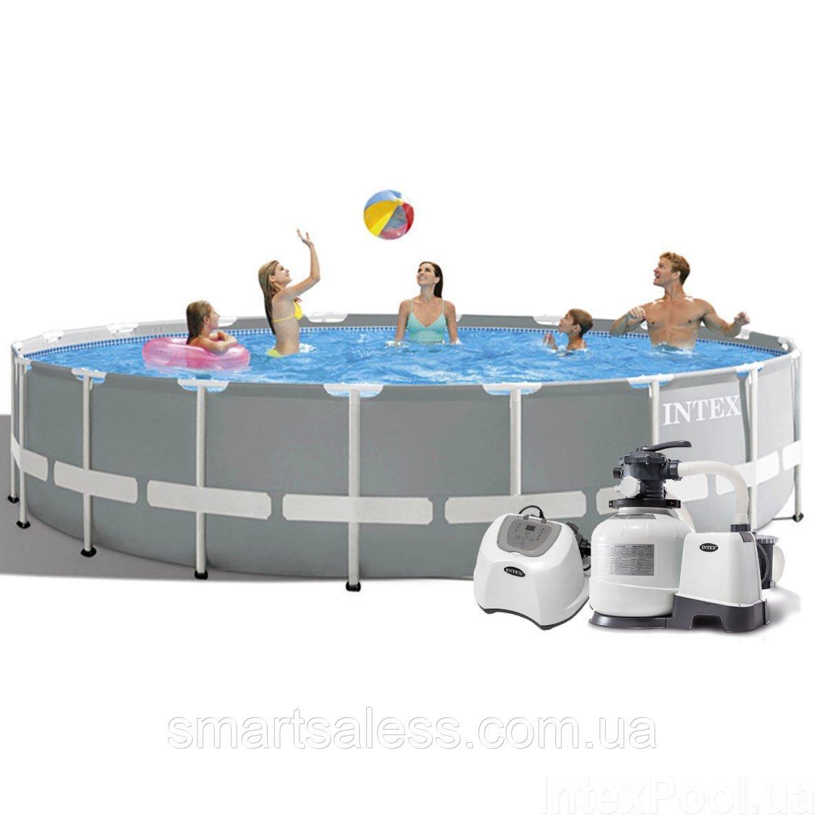 Каркасний басейн Intex, 549 x 122 см, хлор 5 р/год, насос 6 000 л/год, сходи, тент, підстилка, набір