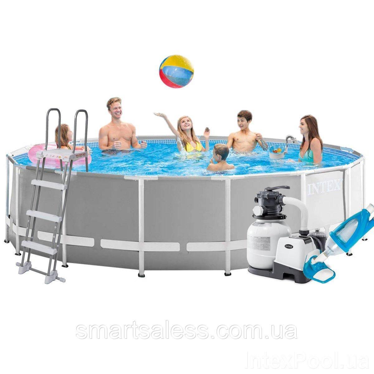 Каркасный бассейн Intex 26726 - 7, 457 x 122 см (6 000 л/ч, лестница, тент, подстилка, набор для ухода)