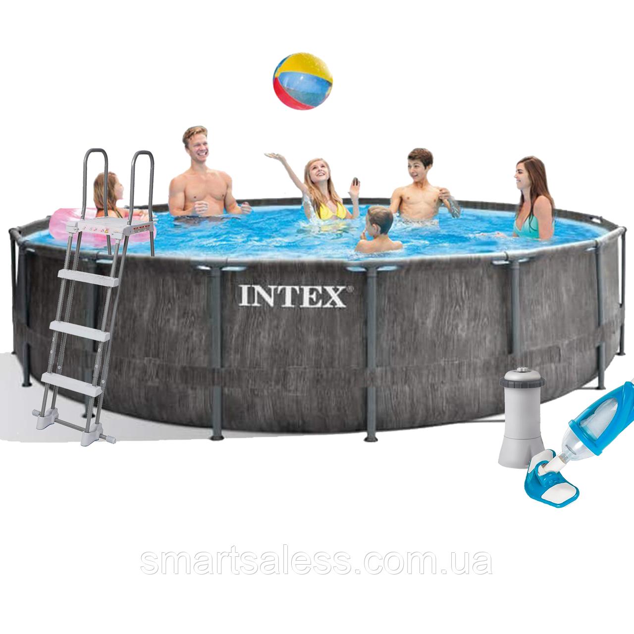 Каркасний басейн Intex, 457 x 122 см, насос 3 785 л/год, сходи, тент, підстилка, набір для догляду