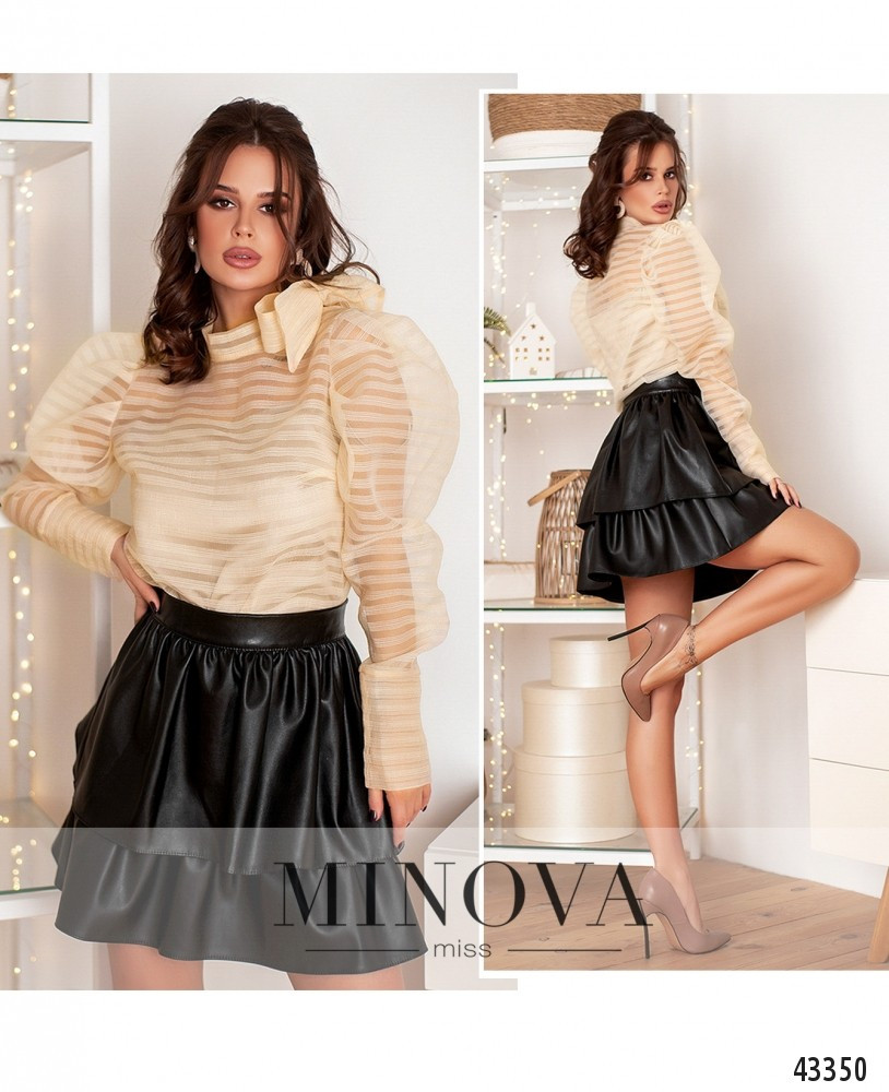 Стильная юбка из эко-кожи с оборками, двухслойная, Размеры 42, 44, 46, 48