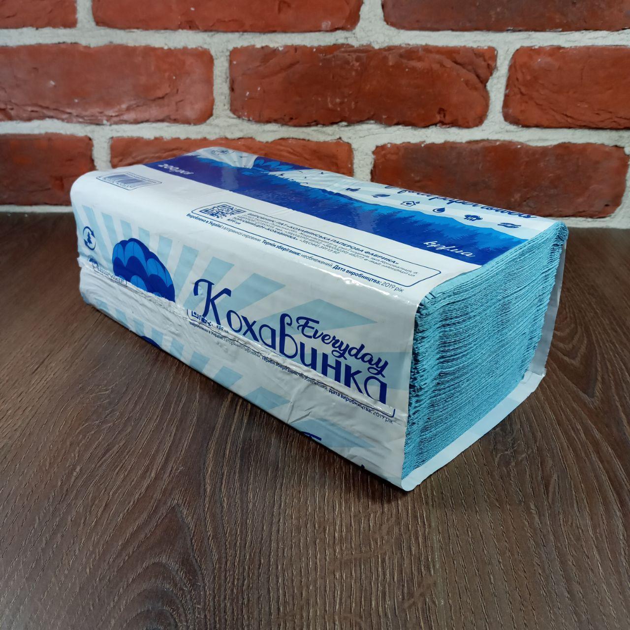 Паперовий рушник Z/Zсинее 200 аркушів Каховинка