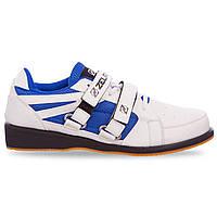 Штангетки обувь для тяжелой атлетики SP-Sport OB-1266 размер 39-45 белый-синий