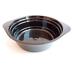 Миска одноразовая 500 ml Стекловидная Юнита черная уп. 10 штук