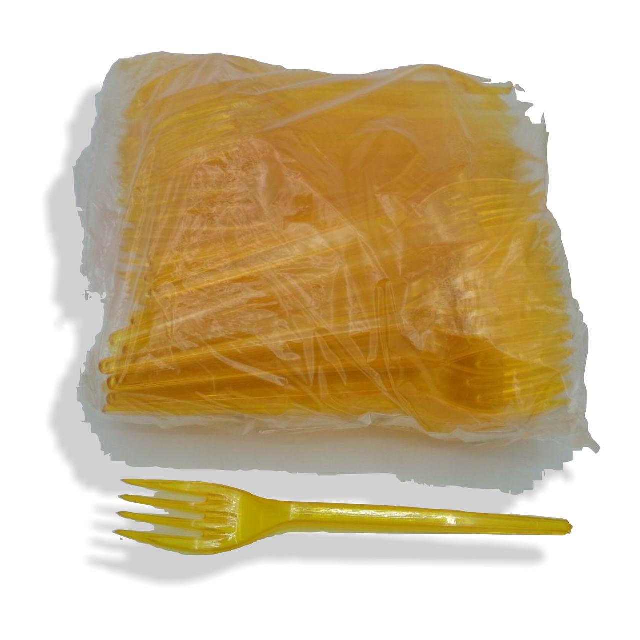 Вилки пластиковые плотные желтые 100 шт 16 см Юнита