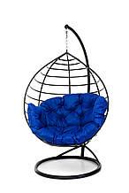 Підвісне крісло кокон для дому та саду з великою подушкою до 150 кг синього кольору в чорному коконі AURORA-S