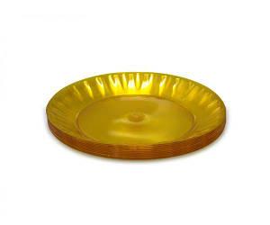 Стекловидная тарелка пластиковая диаметр 205мм желтая (10 шт)