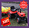 Трактор педальный с прицепом / Трактор на педалях / Педальный трактор красный Biberlogu 2005