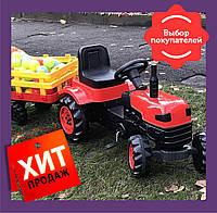 Трактор педальний з причепом / Трактор на педалях / Педальний трактор синій, фото 1