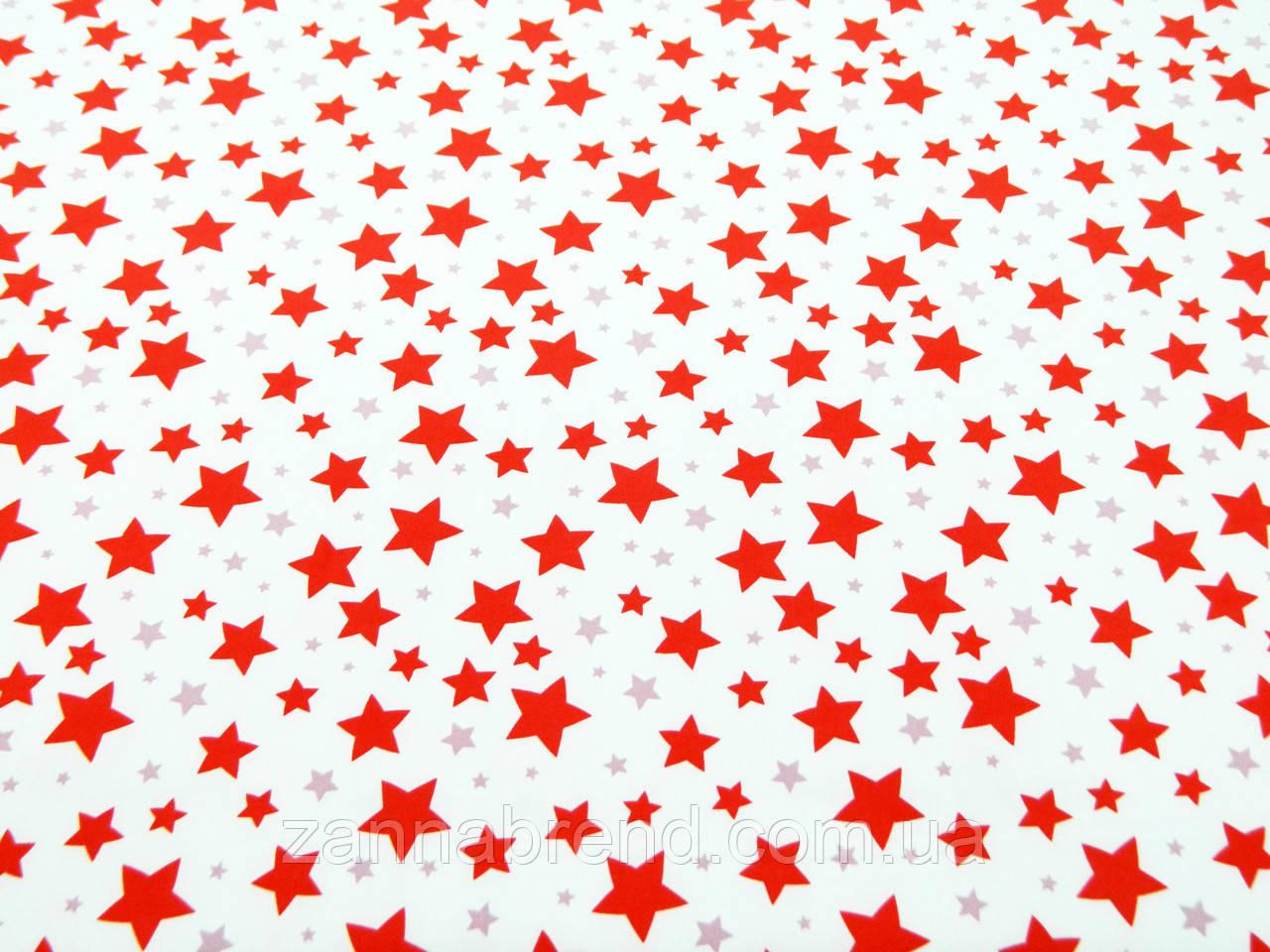 "Ткань супер-софт молочного цвета принт ""Звездное небо"""