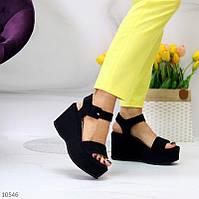 """Жіночі стильні босоніжки на платформі Чорні """"Samantha"""", фото 1"""