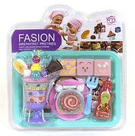 Детский игровой набор продуктов с посудой Сладости, игрушечные кондитерские изделия