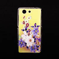 Чехол Силиконовый со стразами Flowers для Sony D5803 Z3 Compact