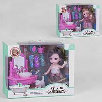 Кукла с мебелью  Ванная комната с питомцем иаксессуарамив коробке,Кукла шарнирнаяJеlena c собачкой