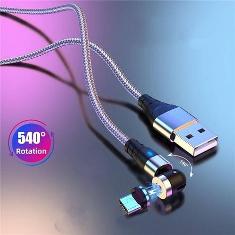 Магнітний кабель Micro usb з ротацією, тканинний 2А 1м., фото 2