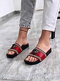 Жіночі пляжні шльопанці шльопанці Versace з натуральної шкіри чорні червоні білі, фото 3