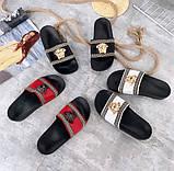 Жіночі пляжні шльопанці шльопанці Versace з натуральної шкіри чорні червоні білі, фото 2